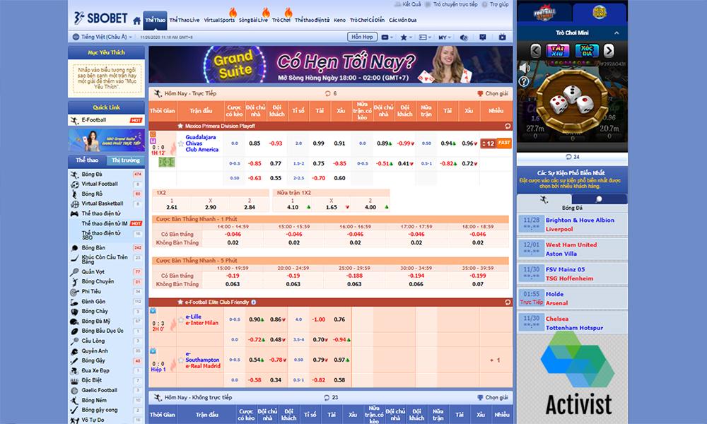 Dịch vụ và sản phẩm cá cược tại Sbobet Asia